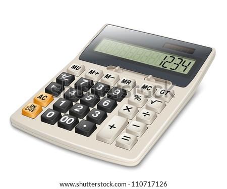 Electronic calculator isolated on white background - stock photo
