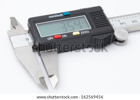 Electronic caliper on white background
