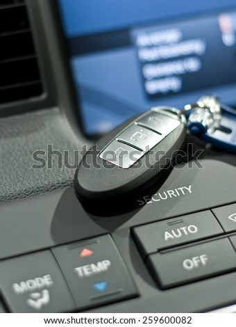 Electronic car key close up photo