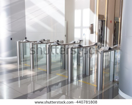 Electronic Card Reader Office Security Gate Stock Photo