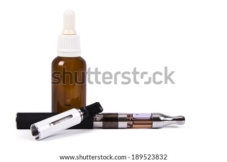 electronic cigarette and utensils isolated on white background - stock photo