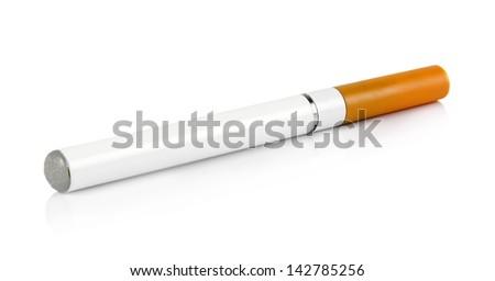 electronic cigarette closeup over white - stock photo