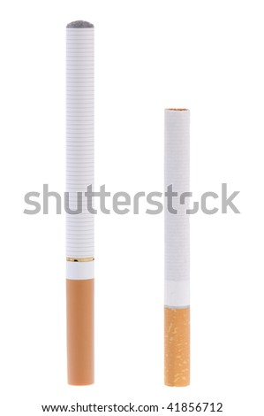 Electronic cigarette compared to real one - stock photo