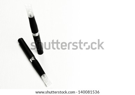 Electronic cigarette, detail and components. E-cigarette business image with copy space