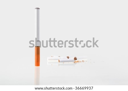 Electronic cigarette over white, reflection background - stock photo