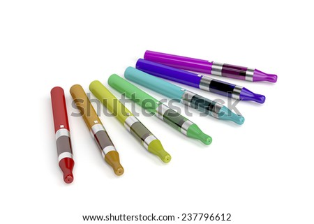 Electronic cigarettes with different colors and flavors on white background  - stock photo