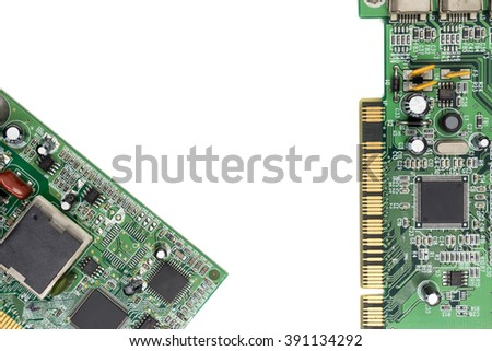 Electronic circuit board on white background.free space for text. - stock photo