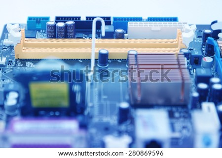 electronic circuit board processor and blue tone technology - stock photo