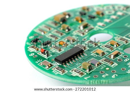 Electronic circuit board with radio components, shallow depth of field - stock photo