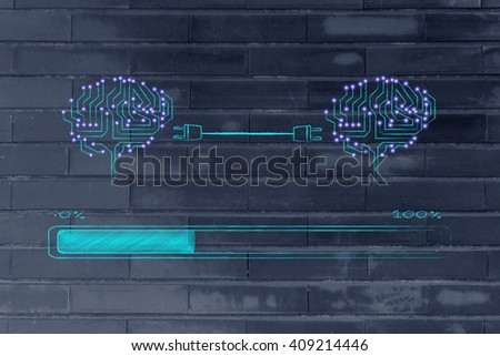 electronic circuit brains connected by plugs exchanging information with progress bar loading