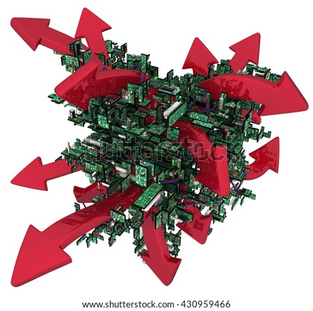 Electronic circuit red arrows abstract, over white, 3d illustration - stock photo