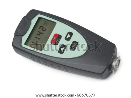 Electronic coating thickness gauge isolated on white