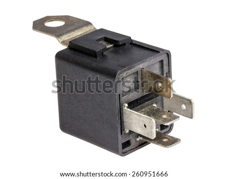 Electronic collection - Car electromagnetic relay switch isolated on white background - stock photo