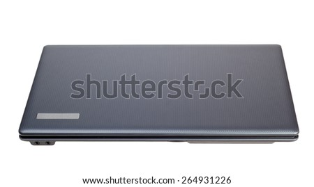 Electronic collection - Closed modern laptop top view isolated on a white background - stock photo