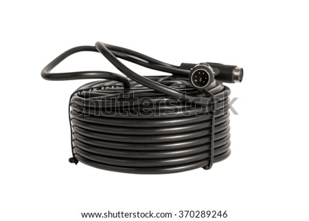 Electronic collection - coaxial cables with PS2 connectors for security cameras (CCTV) isolated on white background - stock photo