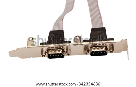 Electronic collection - Computer digital input output port card isolated on white background - stock photo