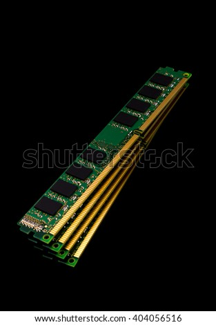 Electronic collection - computer random access memory (RAM) modules on the black background - stock photo