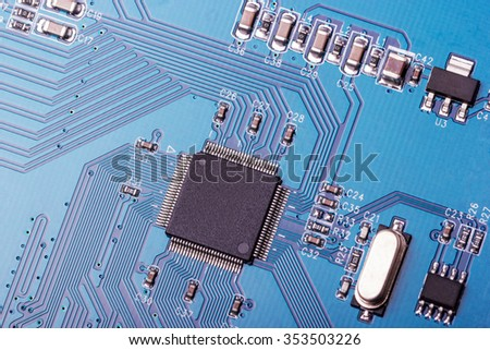 Electronic collection - fragment a computer circuit board with radioelements - stock photo