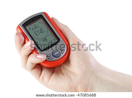 electronic compass in hand - stock photo