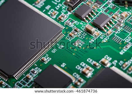 Electronic components, computer card close-up, digital technology, electric charge, processor on the circuit board, elements of the personal computer