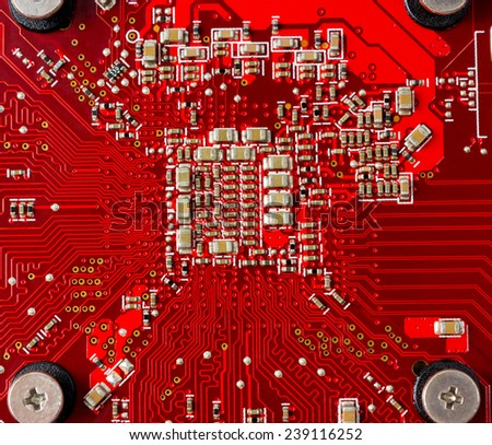 Electronic components on the circuit board computer - stock photo