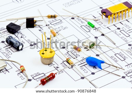 electronic components ready for assembly according to the scheme - stock photo