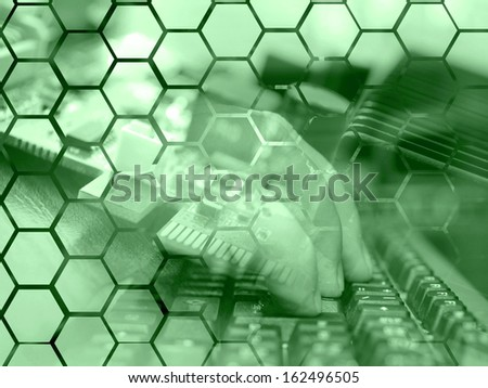 Electronic device and keyboard - abstract computer background in greens.