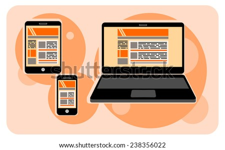 Electronic device icons in cartoon style. Set of electronic device icons on stylish background.  Devices include smartphone, laptop, tablet and mobile phones. Raster version - stock photo