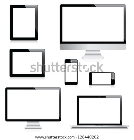 Electronic devices isolated on white background - stock photo