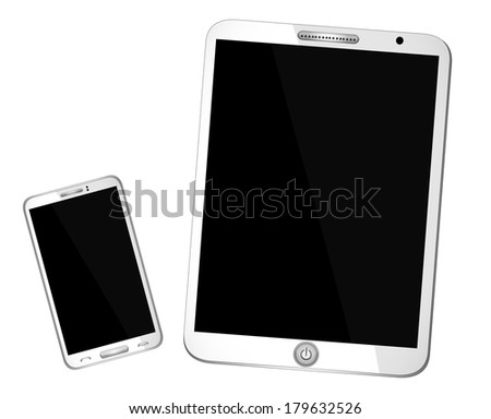 Electronic Devices - isolated on white background; computer, laptop, tablet and mobile phone.