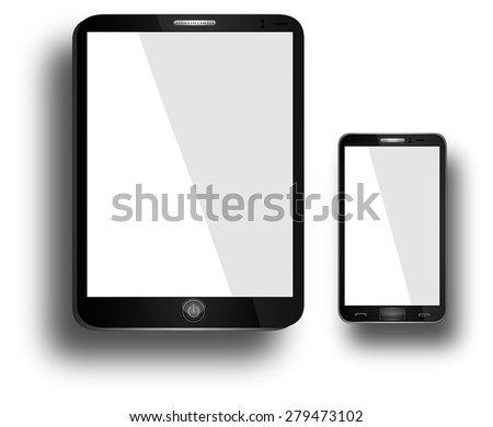 Electronic Devices - isolated on white background; computer, laptop, tablet and mobile phone.  - stock photo