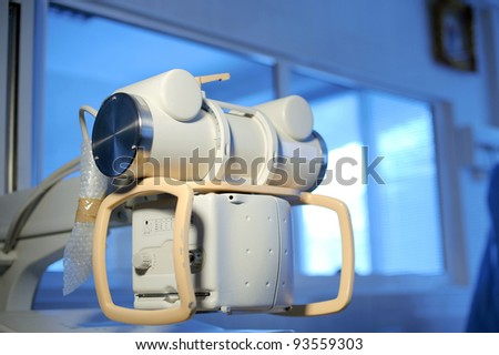 Electronic equipment for maternity clinic in blue light - stock photo