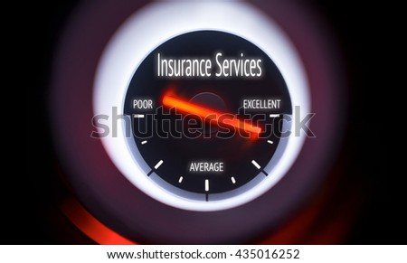 Electronic gauge displaying a Insurance Services Concept