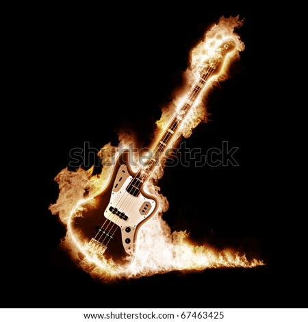 Electronic guitar enveloped flames on a black background - stock photo