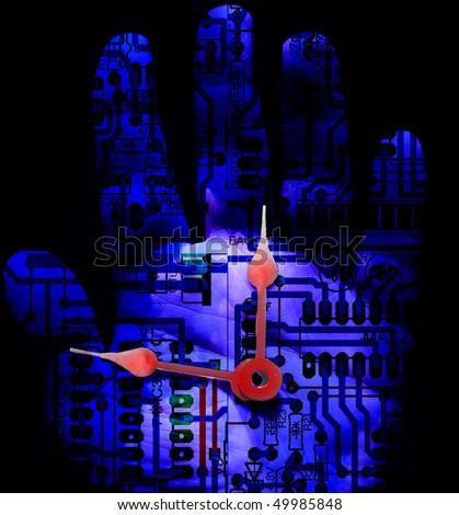 Electronic Hand - stock photo