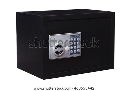 Electronic home safe, isolated on white background
