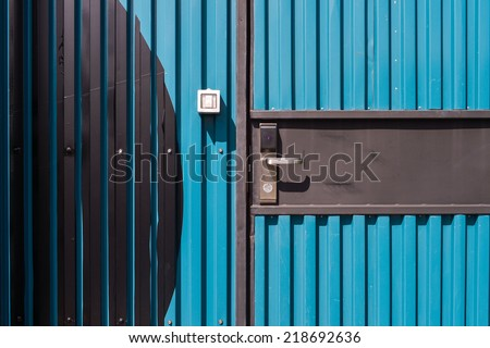 Electronic lock door on Container hotel - stock photo