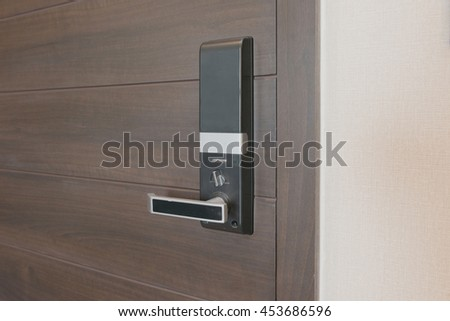 Electronic lock on door