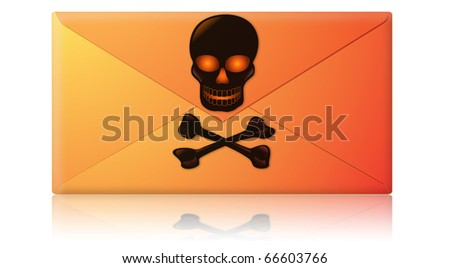 Electronic mail, email envelope containing spam, virus or phishing message - stock photo
