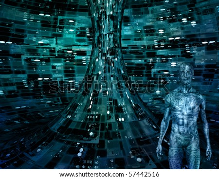 Electronic Man in Electronic Space - stock photo