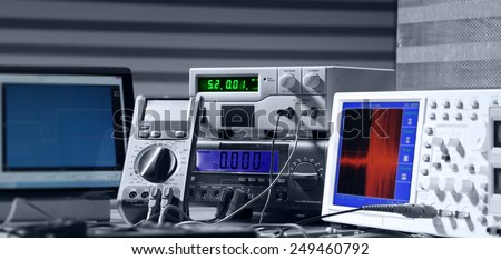 electronic measuring instruments - stock photo