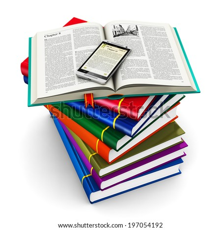 Electronic media, education and literature reading concept: modern business touchscreen smartphone with reading application with text and stack of color hardcover books isolated on white background - stock photo