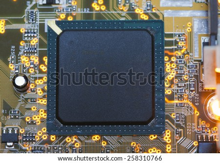 Electronic microcircuit and microchip - stock photo