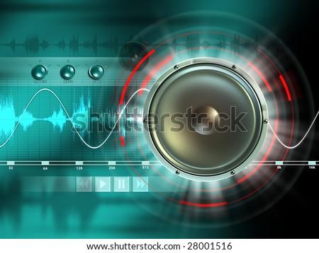 Electronic music processing tools. Digital illustration. - stock photo