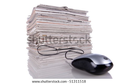 Electronic news in the internet (isolated on white) - stock photo