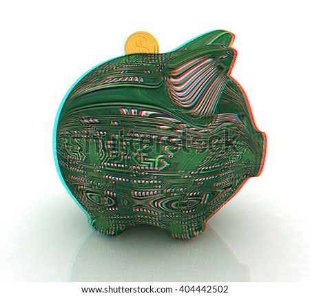 electronic piggy bank on white background. 3D illustration. Anaglyph. View with red/cyan glasses to see in 3D. - stock photo