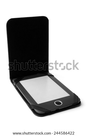 Electronic pocket book in leather case on white background - stock photo