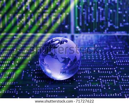 electronic printed circuit board with   technology style against fiber optic background - stock photo