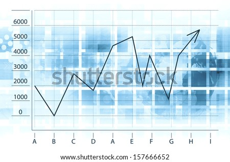 Electronic stock numbers and arrow - stock photo