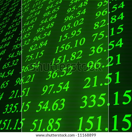 Electronic stock numbers on a green background - stock photo